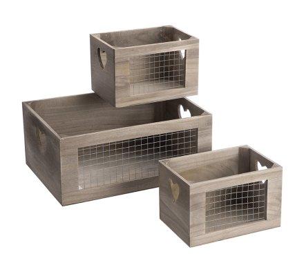 Lot de 3 caisses déco façon cageot en bois avec grillage et coeur 2 tailles