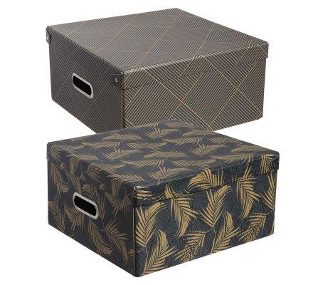 Lot de 2 boîtes de rangement pliables à motifs dorés 31x31x15cm