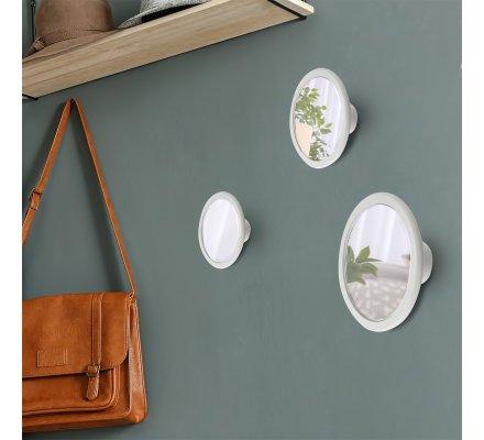 Lot de 3 patères rondes avec miroir intégré 3 tailles coloris gris