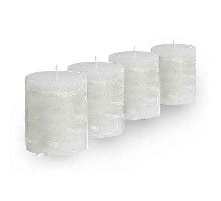 Lot de 4 Bougies cylindriques rustiques (h)60x(d)45mm Blanc