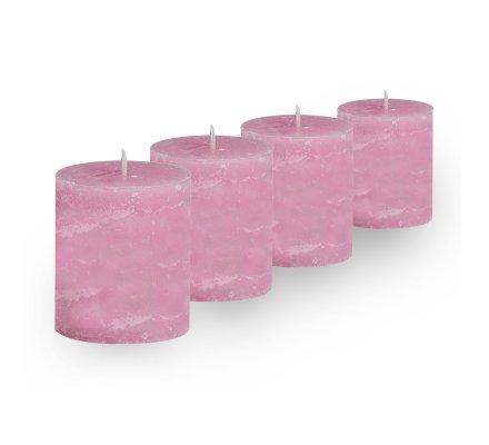 Lot de 4 Bougies cylindriques rustiques (h)60x(d)45mm Rose