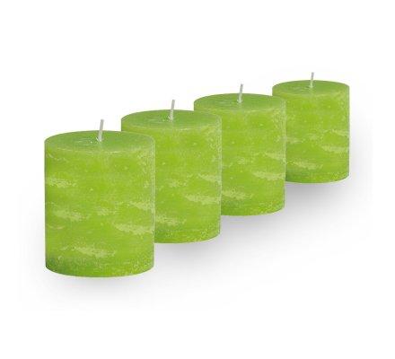 Lot de 4 Bougies cylindriques rustiques (h)60x(d)45mm Vert pomme