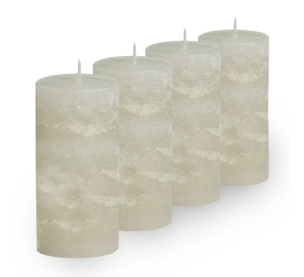 Lot de 4 Bougies cylindriques rustiques (h)100x(d)45mm Ivoire