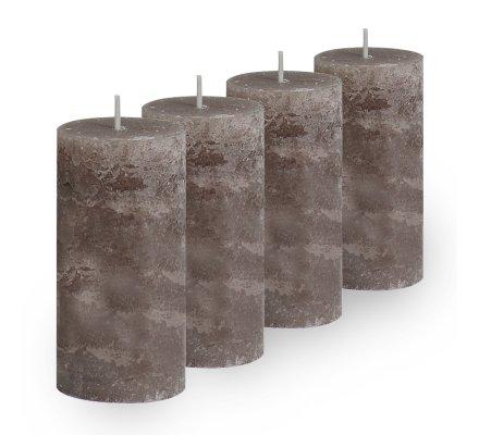 Lot de 4 Bougies cylindriques rustiques (h)100x(d)45mm Taupe