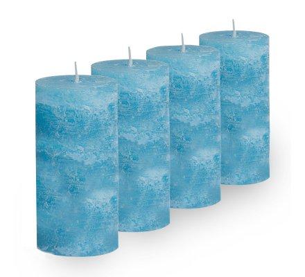 Lot de 4 Bougies cylindriques rustiques (h)100x(d)45mm Turquoise