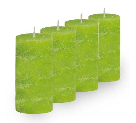 Lot de 4 Bougies cylindriques rustiques (h)100x(d)45mm Vert pomme