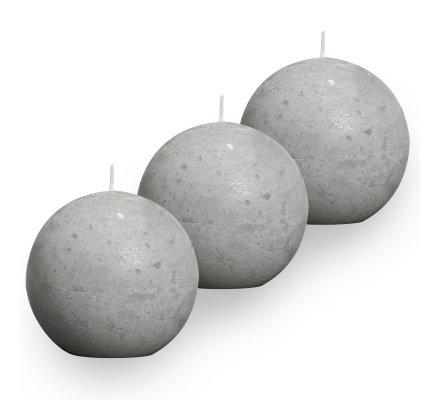 Lot de 3 Bougies boules rustiques (d)80mm Gris clair