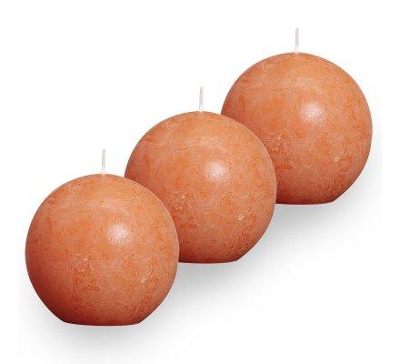 Lot de 3 Bougies boules rustiques (d)80mm Orange