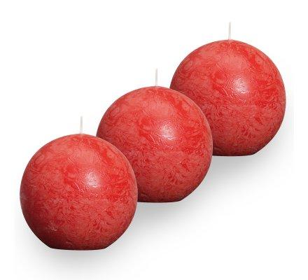 Lot de 3 Bougies boules rustiques (d)80mm Rouge