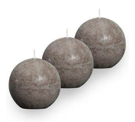 Lot de 3 Bougies boules rustiques (d)80mm Taupe