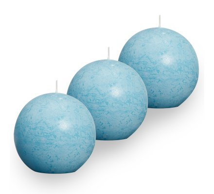Lot de 3 Bougies boules rustiques (d)80mm Turquoise