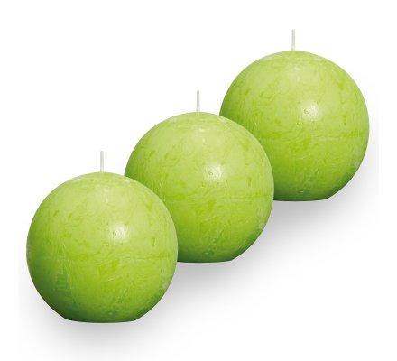 Lot de 3 Bougies boules rustiques (d)80mm Vert pomme