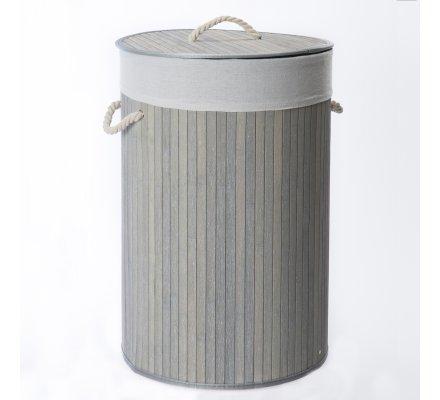 Panier, corbeille à linge pliable rond en Bambou gris et corde avec housse amovible
