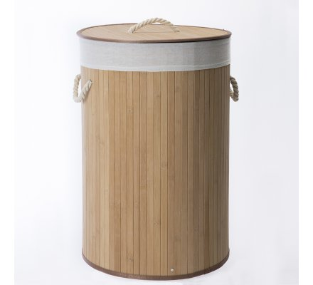 Panier, corbeille à linge pliable rond en Bambou et corde avec housse amovible coloris naturel