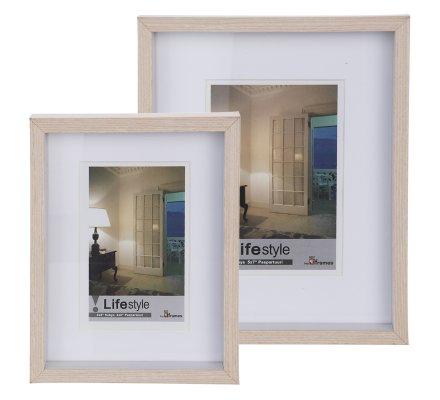 Lot de 2 cadres photo en bois 22x16,5cm et 25x21,5cm