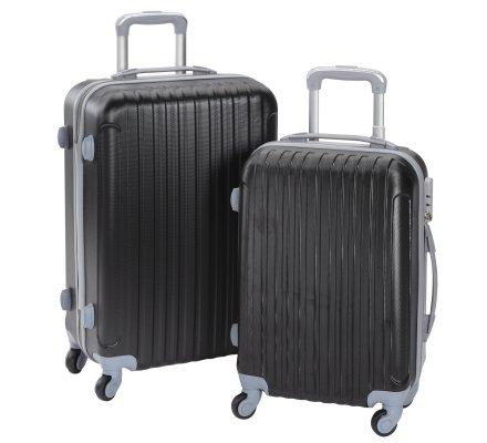 Lot de 2 valises de voyage à roulettes fermeture à code 55cm et 65cm coloris noir