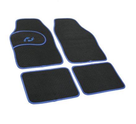 Tapis de voiture universel 4 pièces antidérapant noir contour bleu empreinte pied
