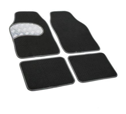 Tapis de voiture universel 4 pièces antidérapant noir contour gris plaque effet métal