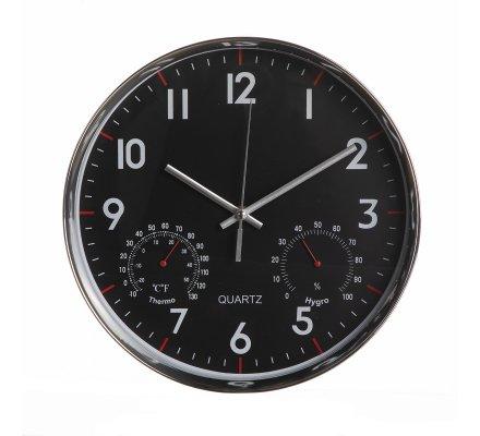 Horloge murale ronde avec indicateurs température et hygrométrie fond noir D29cm