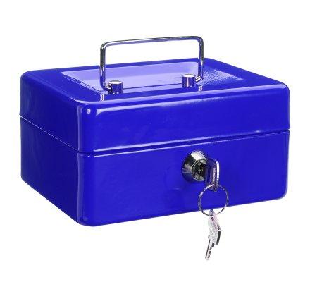 Caisse à monnaie, coffre en métal bleu à clés, compartiments et poignée 15x12cm