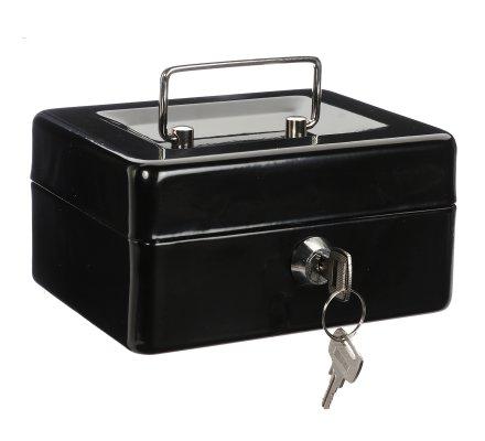 Caisse à monnaie, coffre en métal noir à clés, compartiments et poignée 15x12cm