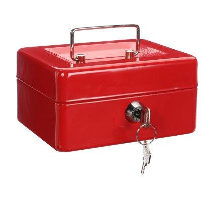 Caisse à monnaie, coffre en métal rouge à clés, compartiments et poignée 15x12cm