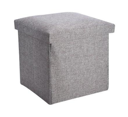 Pouf pliant, coffre de rangement en tissu gris 30x30x30cm