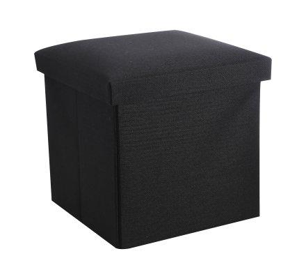 Pouf pliant, coffre de rangement en tissu noir 30x30x30cm