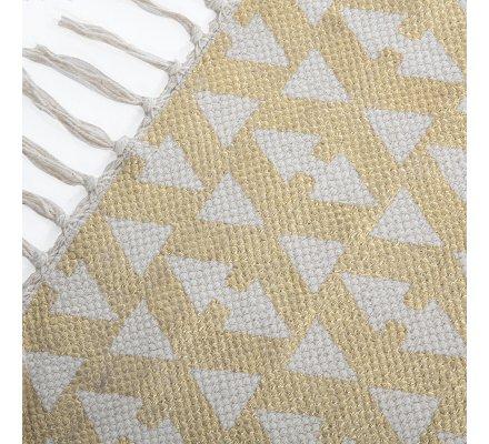 Tapis déco en coton à franges motifs dorés 60x90cm