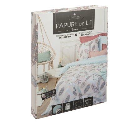 Parure de lit 2 Personnes 240x220cm housse de couette avec 2 taies Imprimées Plumes