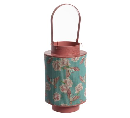 Lanterne en métal et bambou à motifs H30cm
