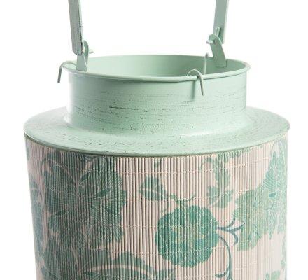 Lanterne en métal et bambou à motifs vert H30cm