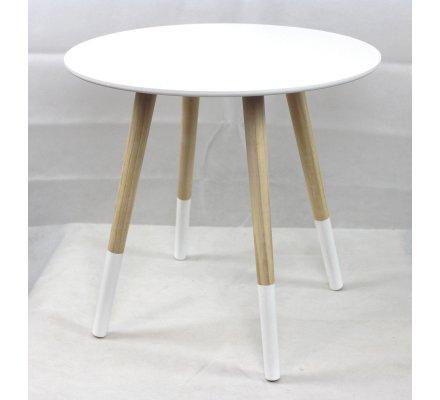 Table d'appoint, table à café en bois blanc style scandinave H45xD48cm