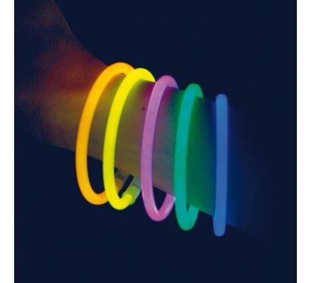 Lot de 100 bracelets tubes lumineux multicolores avec attaches