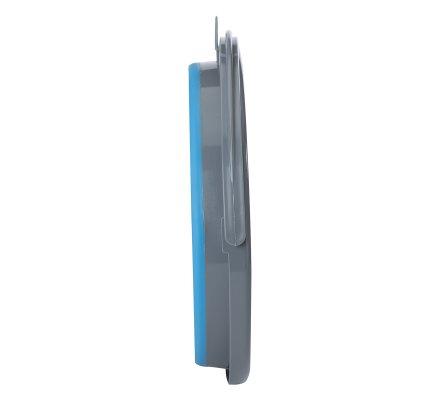 Seau réctractable gain de place 10L en plastique bleu et gris avec anse