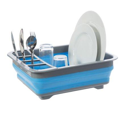 Egouttoir à vaisselle rétractable gain de place en plastique bleu et gris 36x31x13cm