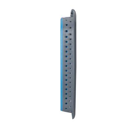 Panier à linge rétractable gain de place en plastique bleu et gris 60x45x28cm
