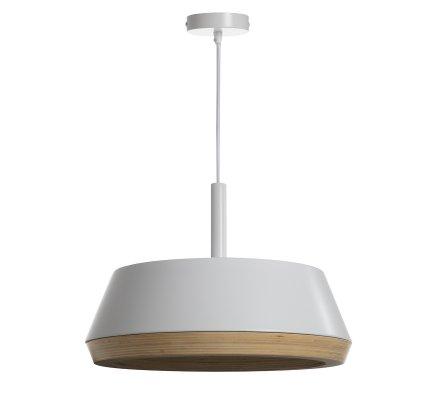 Luminaire suspension en bois et métal blanc D40cm Atmosphéra