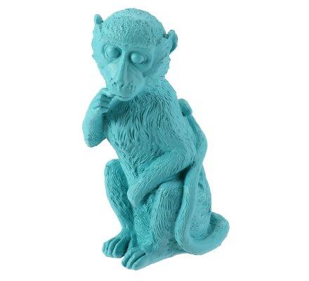 Tirelire Singe en résine bleu pastel H 17cm