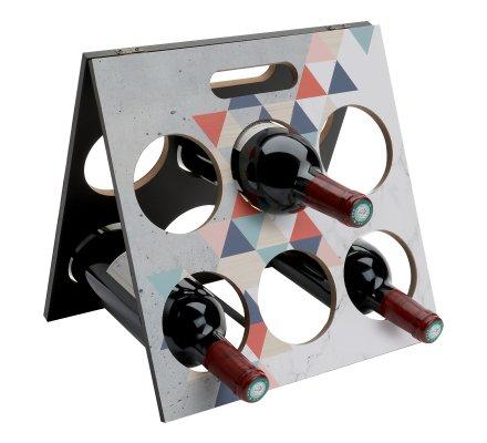 Support 6 bouteilles en bois à motif 31x31cm