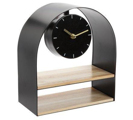 Horloge étagère déco en bois et métal 24x27cm