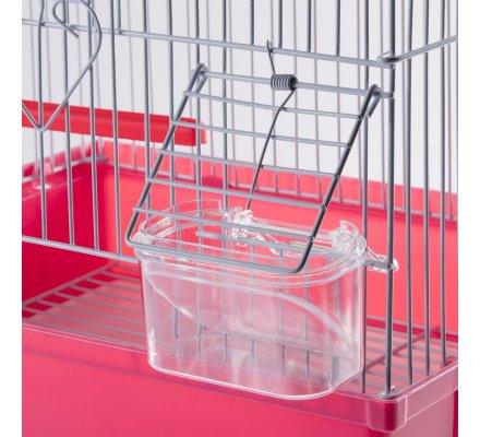 Cage à oiseaux avec bac amovible et perchoirs coloris rose 30x27x39cm
