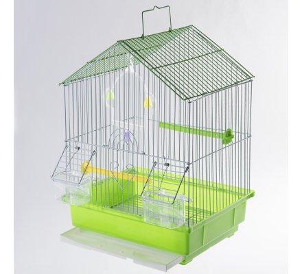 Cage à oiseaux avec bac amovible et perchoirs coloris vert 30x27x39cm