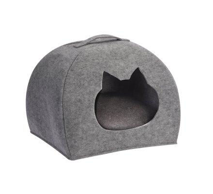 Niche pour chat, dôme en feutrine grise ouverture tête de chat