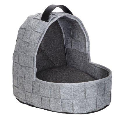 Panier, niche pour chat forme landau avec poignée gris chiné