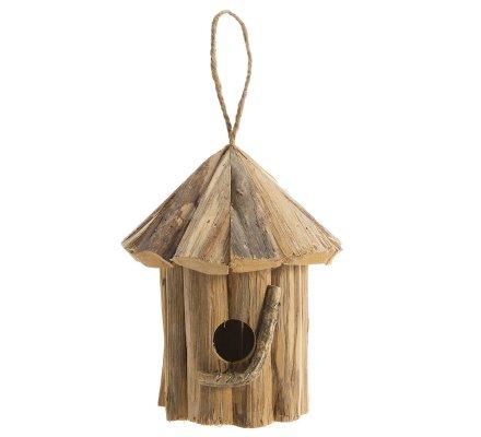 Cabane à oiseaux, nichoir en bois forme ronde avec branche H21cm