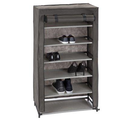 Armoire, rangement pour chaussures 6 niveaux en intissé gris 61x30x107cm