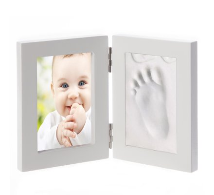 Kit pour moulage d'empreinte bébé ou animal 2D avec cadre photo blanc 26cmx16,5cm