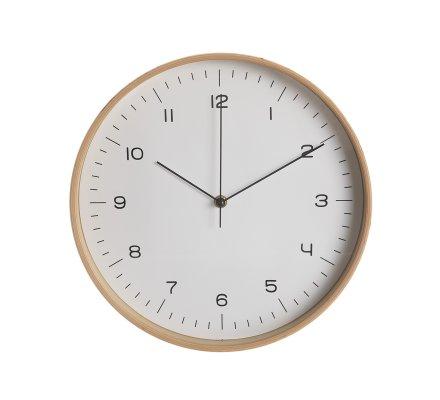 Horloge murale ronde silencieuse en bois fond blanc D32cm