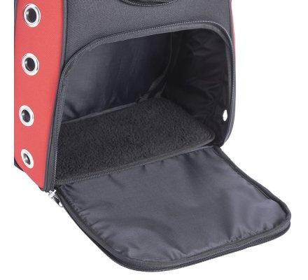 Sac à dos respirant transport pour animaux de compagnie rouge et noir